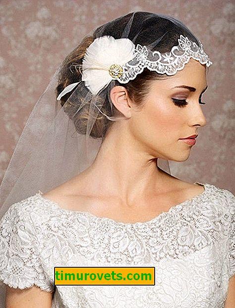 Wedding hairstyle bun with veil