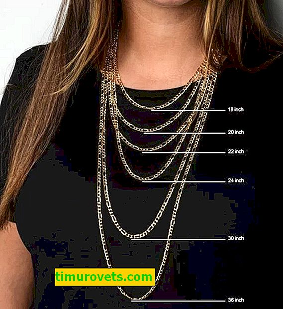 Sizes of chains on the neck of a woman (table)