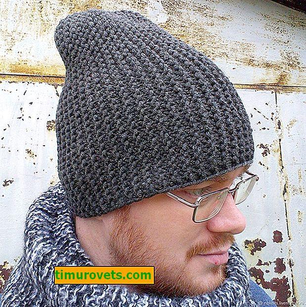 Мъжка шапка с плетене на една кука
