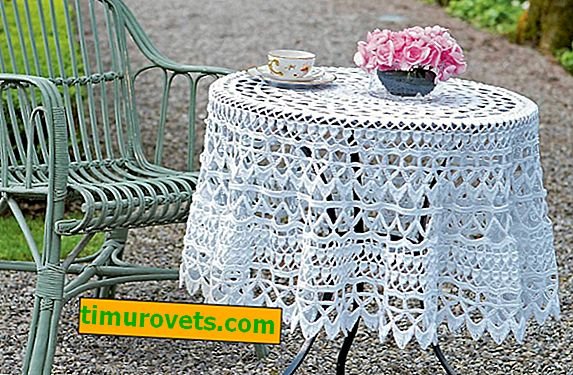 Crochet tablecloth patterns on a round table