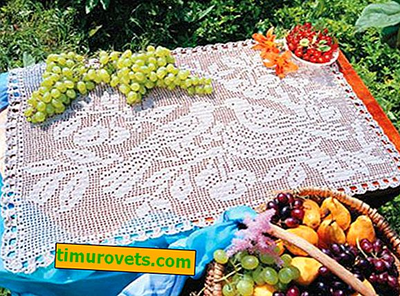Schemes for tablecloths on a rectangular table crocheted