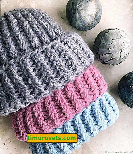 Плетена шапка, изработена от дебели нишки