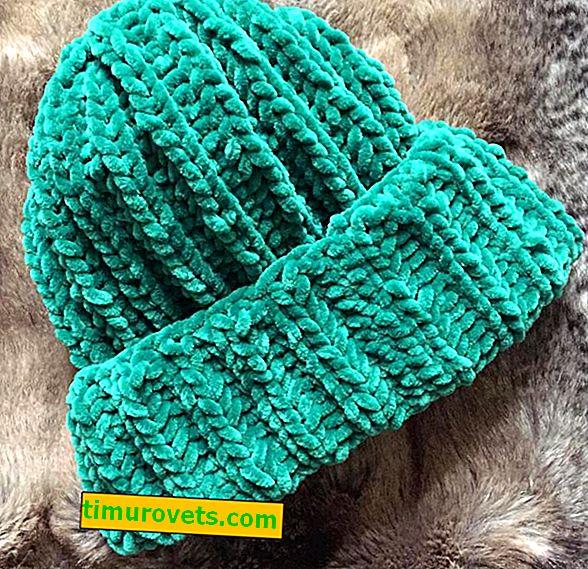 Pletena kapa z velurno prejo