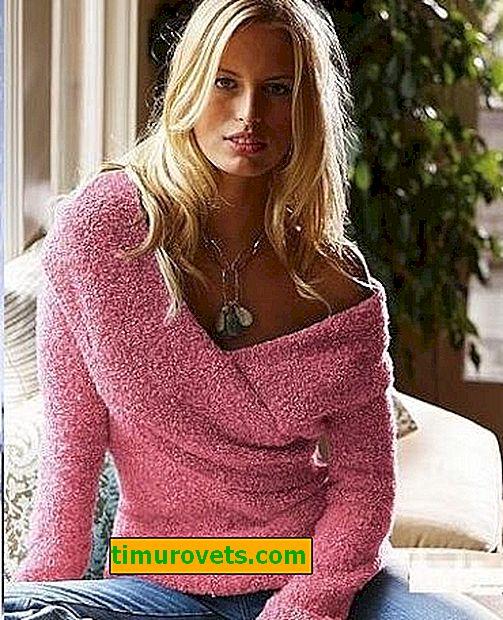 Плетива пуловер от велурена прежда