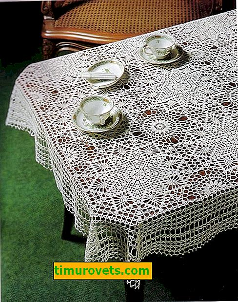 Crocheted square tablecloth