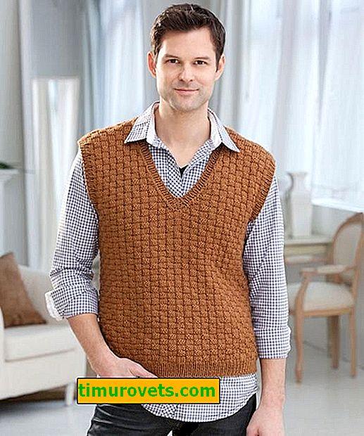 Gilet pour hommes avec des aiguilles à tricoter