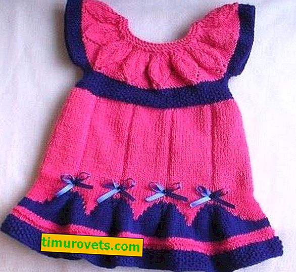 Dress for the girl with knitting needles