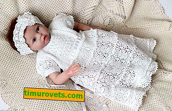 Плетене на една кука рокля за кръщене за момичета с шарки