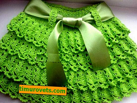 Плетена на една кука пухкава пола за момичета