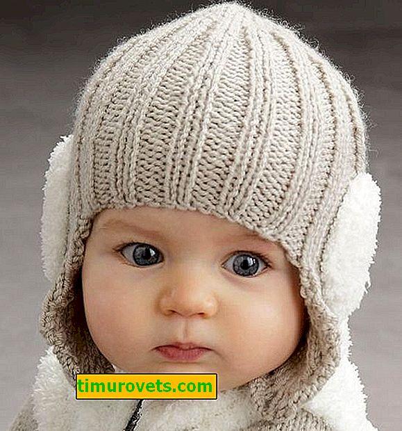 Kulakları örgü ile çocuk şapka