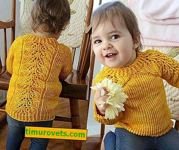 Детски пуловер от реглан с игли за плетене