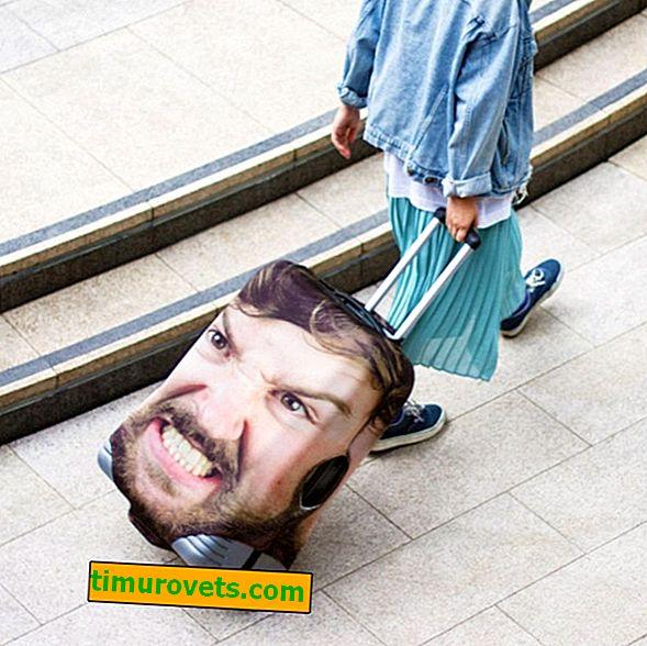 Affaire sur une valise avec une photo du propriétaire