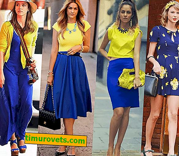 Kombinácia modrej (azúrovej) a žltej v oblečení